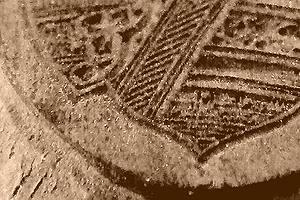 Detail des originalen Hartholzurstempels