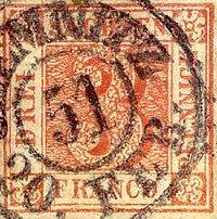 Sachsen Nr. 1, Platte III, Feld 1