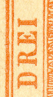 Buchdruck-Fälschung als Kehrdruck-Kleinbogen Detail DREI